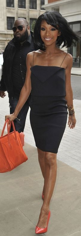 Brandy: Shirt and skirt – Jen Kao  Purse – Celine  Shoes – Giuseppe Zanotti