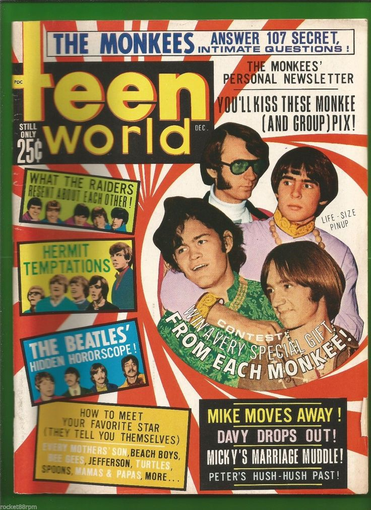 Teen World 1967 Teen Magazine Davy Jones Micky Dolenz Peter Mike Nesmith Beatles | eBay