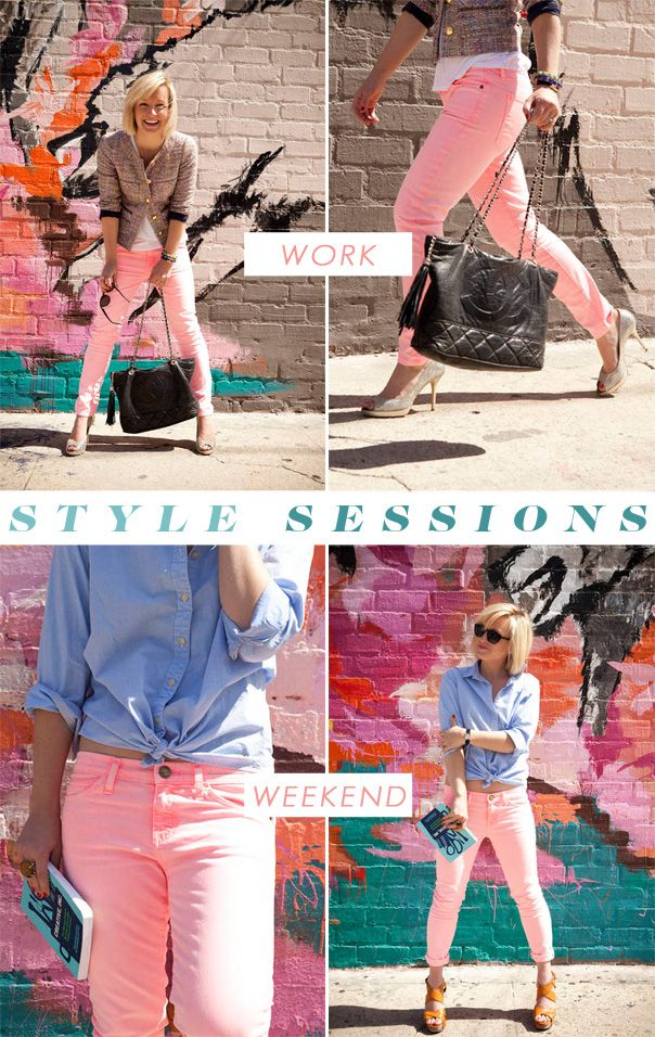 Style Sessions: Pink Jeans, Two Ways (with Jen Pinkston): Outfits With Pink Pants, Neon Pink Jeans, Jeans Outfits, Summer Outfits Pink, Jen Pinkston, Colors Jeans, Neon Pink Pants, Style Session, Style Tips