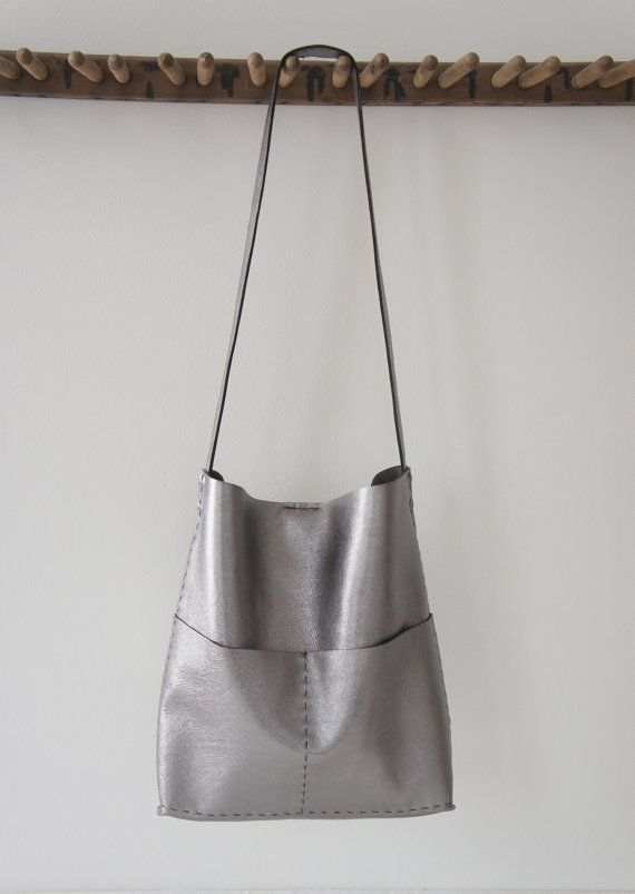 The Alesia - Soft Leather Bag - Hand Sewn - Gun Metal by Stitch and Tickle