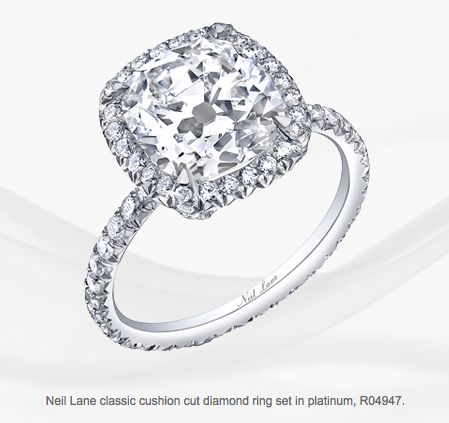 Neil Lane classic cushion cut diamond ring set in platinum, R04947 2 Carat diamond