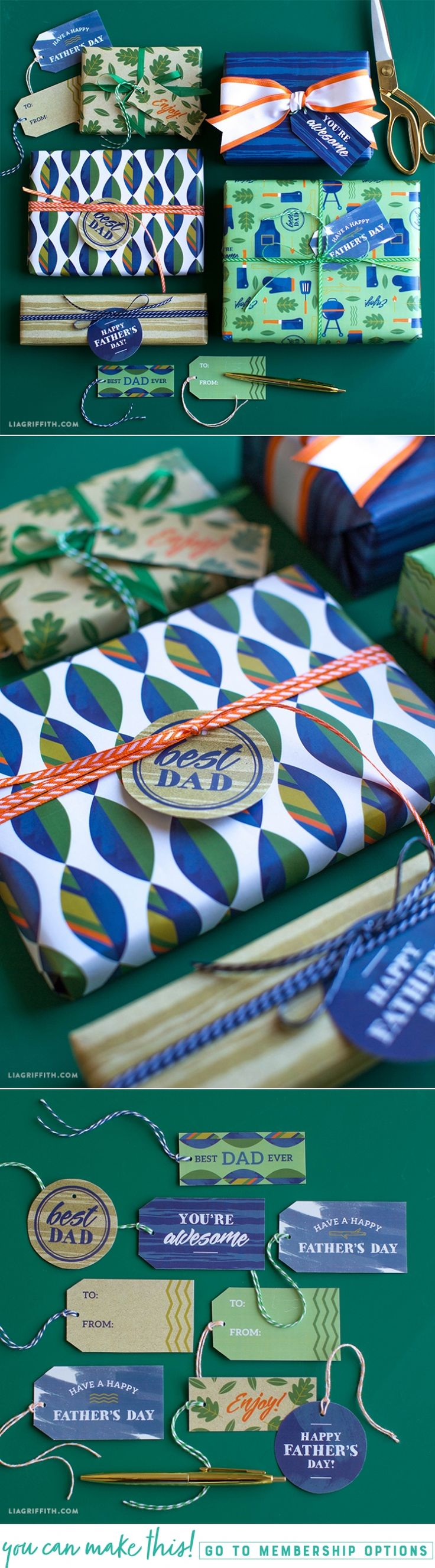 Printable #giftwrap for #FathersDay at www.LiaGriffith.com: