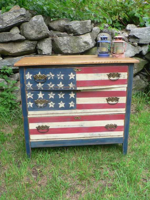 CustoM order- red white & blue AMERICAN flag antique wood Dresser VINTAGE