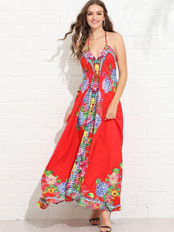 844d8ff496b2 Flower Print Sleeveless Flowy Dress -SheIn(Sheinside)