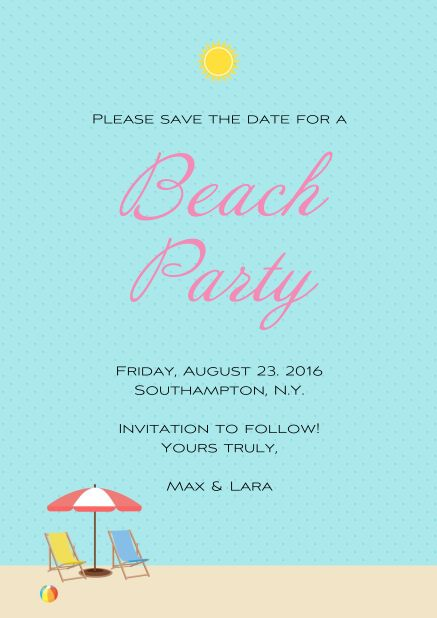 """Summer """"Beach and sun"""" Online Save the date card for beach party with two beach chairs and a beach ball."""