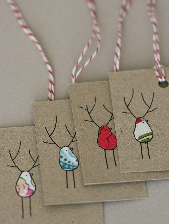 Christmas Gift Tags Reinbirds van LilaRubyKingShop op Etsy