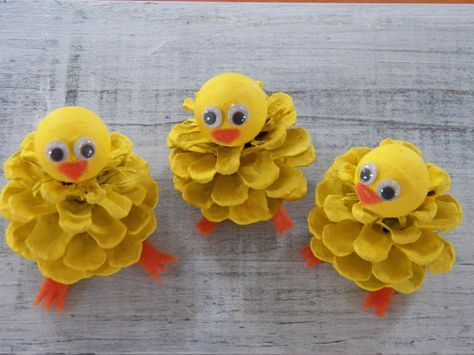 Chick Peeps Pine Cone Easter Craft Ornament Pine by 37HawthornHill