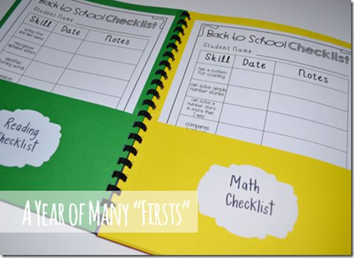 """Individual Data Folders for each student. Includes """"Back to School Checklists"""" for assessing what each student knows."""