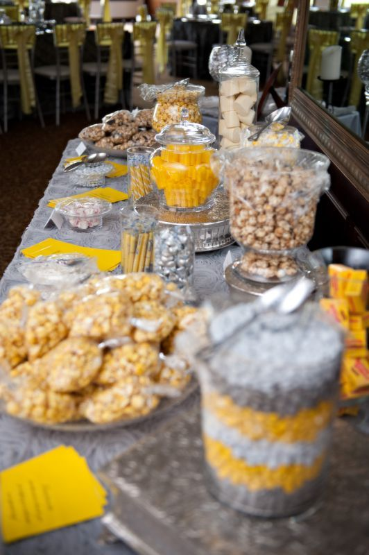 Gray and Yellow Candy Table :  wedding candy table inspiration reception silver yellow DSC 7902 Edit