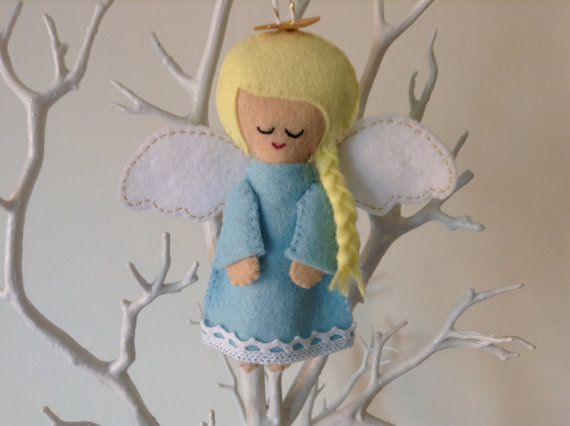 Christmas Guardian Angel Ornament Unique Baby by BellaandRoo