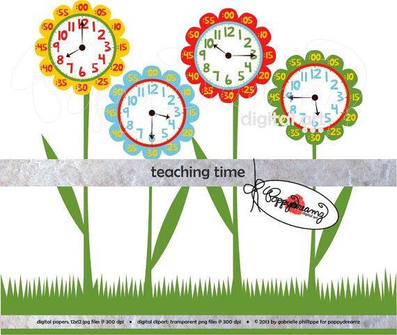 Teaching Time Clipart: Digital Clip Art Pack (300 dpi) School Teacher Clip Art Clocks Colors Kindergarten Pre-K on Etsy, $3.49