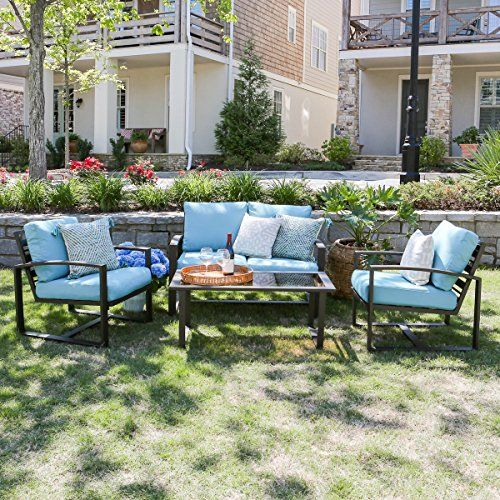 Step up your outdoor space's style game. With a modern rust proof aluminum frame the jasper 4-piece seating set will be the center piece of any backyard. Cushions are a generous 22' wide and 4.5' thi...