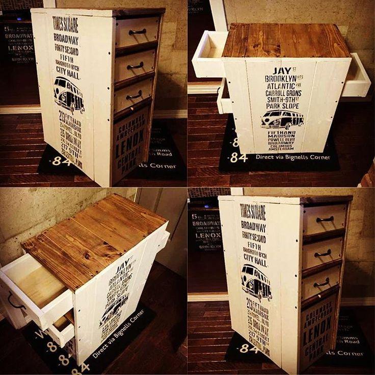 #オリジナル #デザイン #design #チェスト #chest #バスロールサイン #引き出し #セリア #ボックス #BOX #ステンシル #リバーシブル #diy #DIY #ハンドメイド #木工 #家具 #木工家具 #男前インテリア #interior #出品 #ワーゲンバス #BUS
