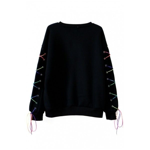 Round Neck Long Cross Tie Sleeve Plain Sweatshirt ($18) ❤ liked on Polyvore featuring tops, hoodies, sweatshirts, bhalo, long sleeve hoodies, long hooded sweatshirt, sweat shirts, sweatshirts hoodies and long sleeve hoodie