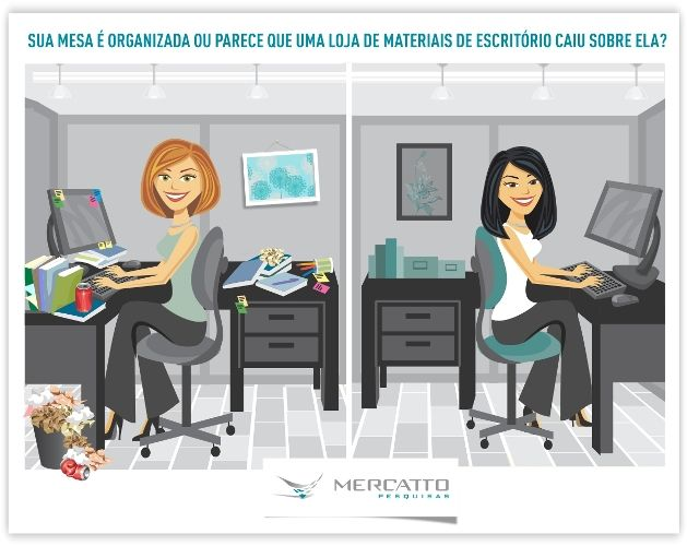 Uma Mesa de trabalho limpa e arrumada indica pessoas mais convencionais, propensas a uma dieta saudável e mais generosas.