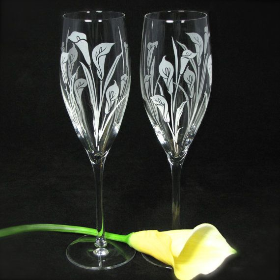 NEW Calla Lily Wedding Champagne Flutes Fine by bradgoodell