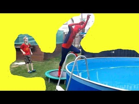 Scared SPIDERMAN by UGLY KID BOY jump to Pool w/ SuperHeroes movies for ...