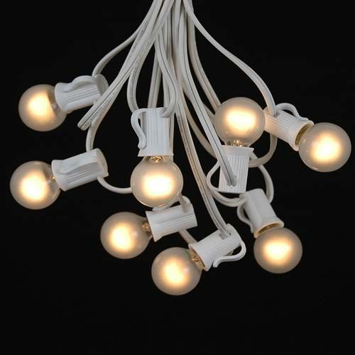 25 G30 Globe Light String Set with Frosted White Bulbs on White Wire to replace the porch lights that are all burnt out on a green wire: G30 Globes, Globe Lights, Lights String, Lights Globes, Globes Lights, White Wire, Lights Sets, White Bulbs, Patio String Lights
