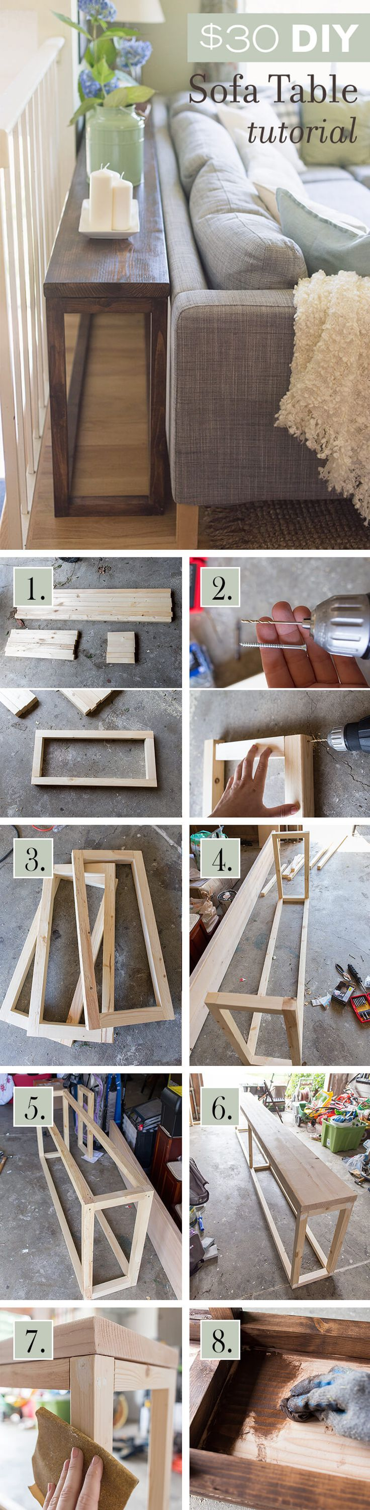 DIY Wall to Wall Sofa Table