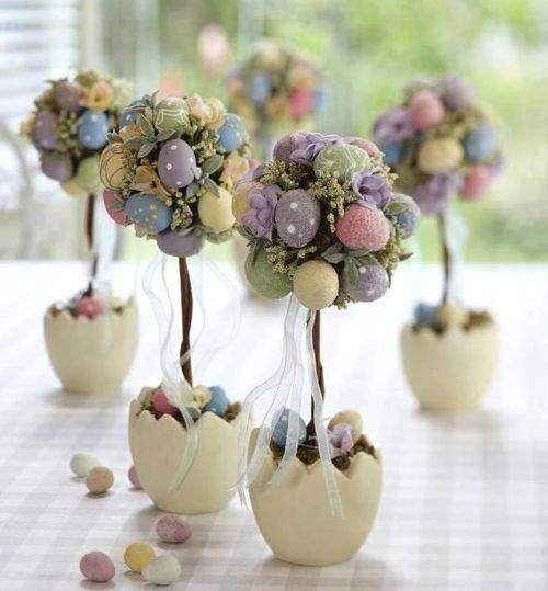 Ostern 2014 – coole Osterdeko selber basteln - ostern dekoration frisch festlich ostereier hasen küken wachtel bäume