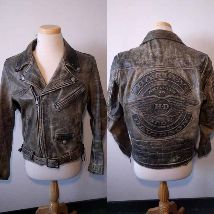 Vintage Harley-Davidson Embossed Leather Jacket L Artistry In Iron Distressed