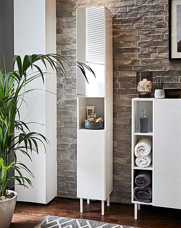 Dahlia High Gloss Mirrored Tall Boy Unit Tall Boys Tall Cabinet Storage Space Saving Storage
