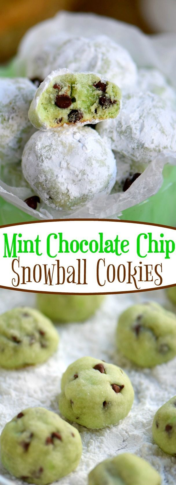 Melt in your mouth Mint Chocolate Chip Snowball Cookies are a treat you won't be able to resist! So easy to make and packed with mint and chocolate flavor - no one can eat just one! Perfect for St. Patrick's Day, Easter, Christmas and more! // Mom On Timeout