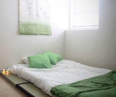 Modern Japanese Floor Futon on Tatami Mats                                                                                                                                                                                 More