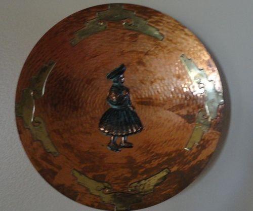 Copper Brass Bronze Plate With Inca Peru Woman