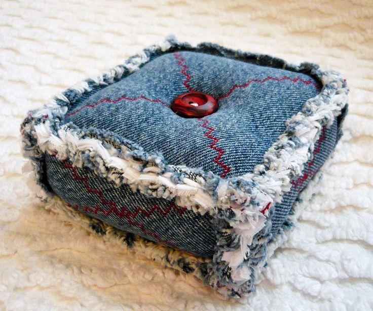Recycled Denim Rag Quilt PIncushion   Flickr - Photo Sharing!