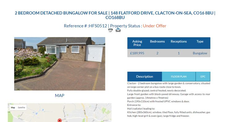 HFS0512 2 BEDROOM DETACHED BUNGALOW FOR SALE Asking Price £189,995 Location 148 FLATFORD DRIVE, CLACTON-ON-SEA, CO16 8BU | CO168BU #2Bedroom #DetachedBungalow #Bungalow #BungalowForSale #ClactonOnSea #Clacton #FreeOnlineEstateAgency #Ownersellers #SellingYourHouseOnlineForFree #FreeOnlineEstateAgent #FreePropertyValuation