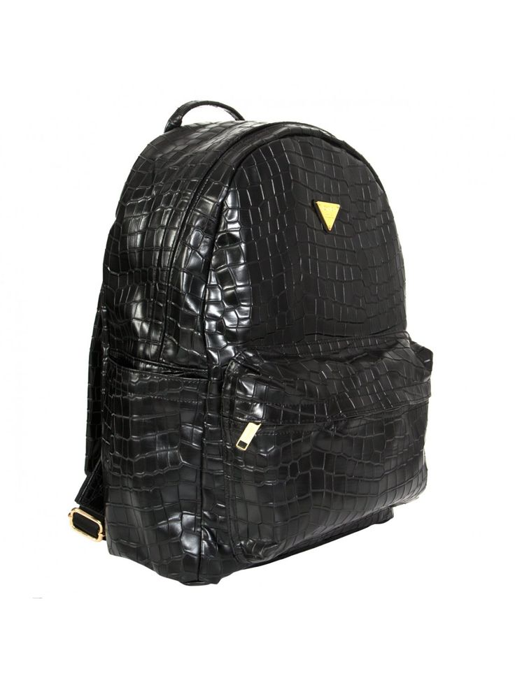 Croc Faux Backpack Black