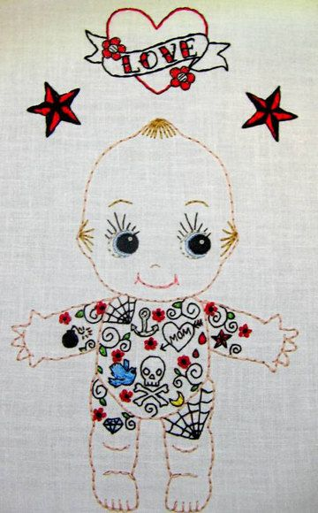 Tattoo Kewpie Doll Cutesie Digital Embroidery by greenbeanbaby