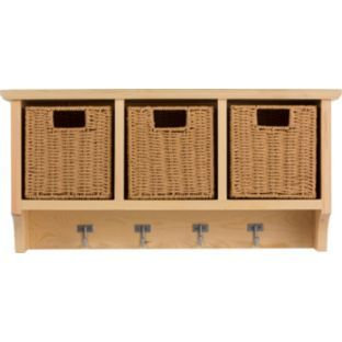 Pine Wall Storage Unit With Baskets Hooks Shelves Coat Hanging Rack Case  Cabinet