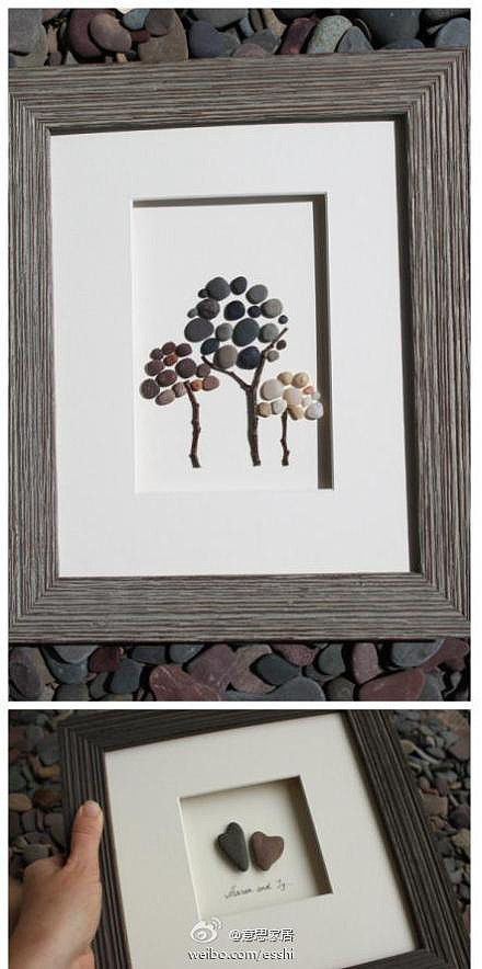 Organize small stones and twigs into 3D art, use a hot glue gun to attach.  Frame it and Ta Dah!