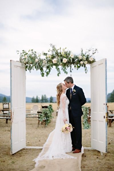 Vintage Bride ~ A rustic ceremony: http://www.stylemepretty.com/2014/08/18/greenough-montana-wedding-by-habitat-events/   Photography: Green Door - http://www.greendoorphotography.com/ ~ #vintagebride #vintagewedding #vintagebridemagazine