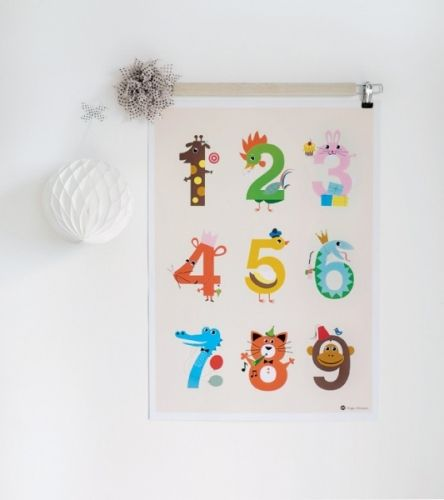 Dekorativ og lærerik telleplakat, perfekt til barnerommet. Mål: 50x70 cm