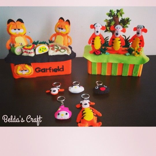 Garfield and Tiger Tissue Box from felt