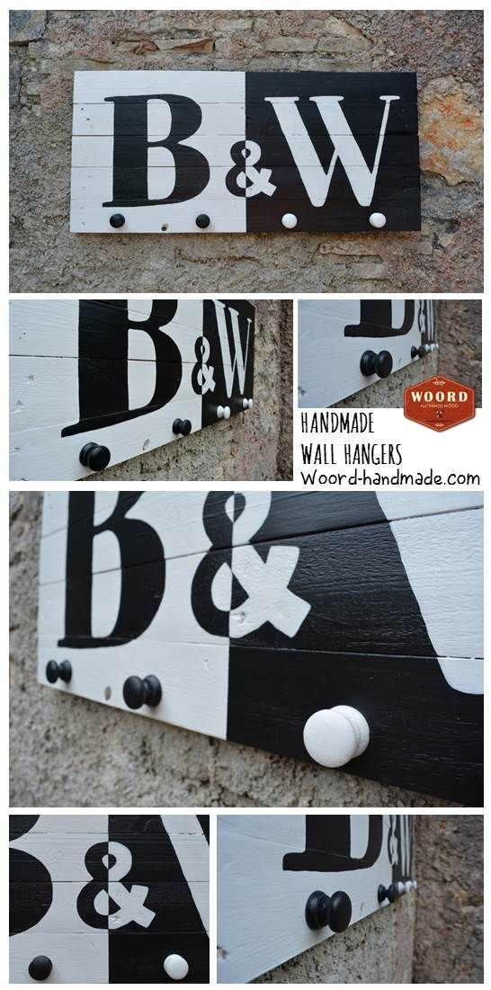 BLACK AND WHITE: Handpainted wooden wall art hanger in black and white background, with black and white letters in reverse and 4 big wooden pegs. This is a great proposal for your home or for a gift, especially when you or your friends like intense but minimal decorative pieces. It fits perfectly in a black and white wall decor and home.