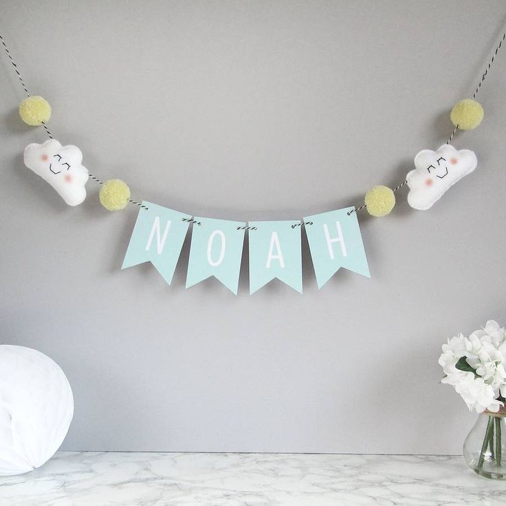 Personalised Cloud Name Bunting With Pom Poms