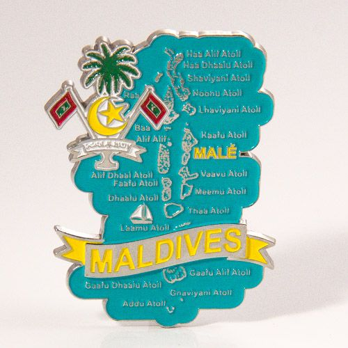 Metal Fridge Magnet: Maldives. Map of Maldives (Chrome Plating and Enamel)