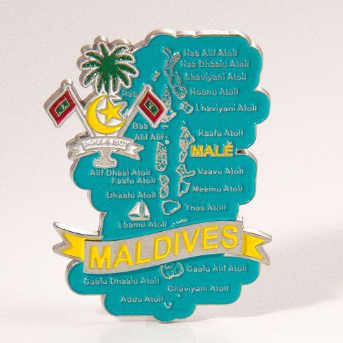 Metal Fridge Magnet: Maldives. Map of Maldives (Chrome Plating and Enamel)
