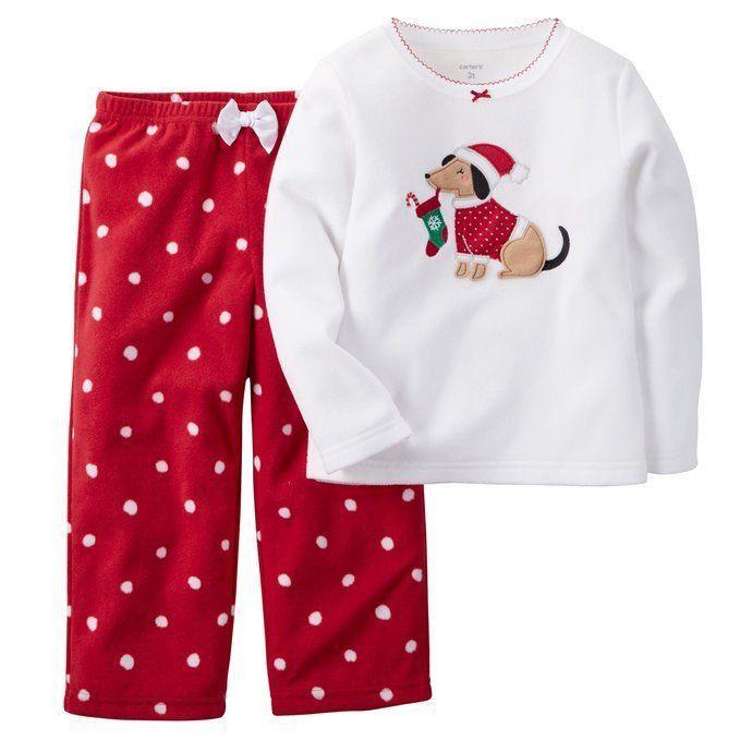 CARTER'S Girls 2 Piece Fleece Holiday Pajama Set PJs Sleepwear Size 6 Red NWT