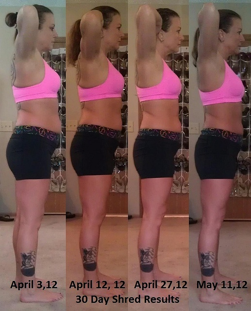Final 30 Day Shred Results Side by mariposa224, via Flickr