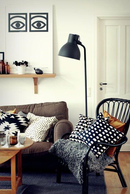 Living room, couch, IKEA Storsele black rattan armchair, IKEA Hektor lamp