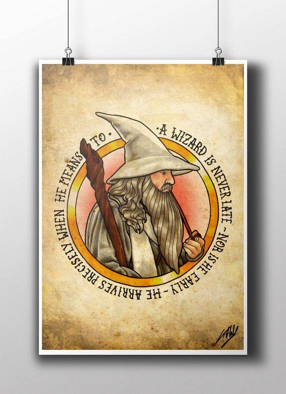 LOTR Gandalf Tattoo Parlor Poster Print