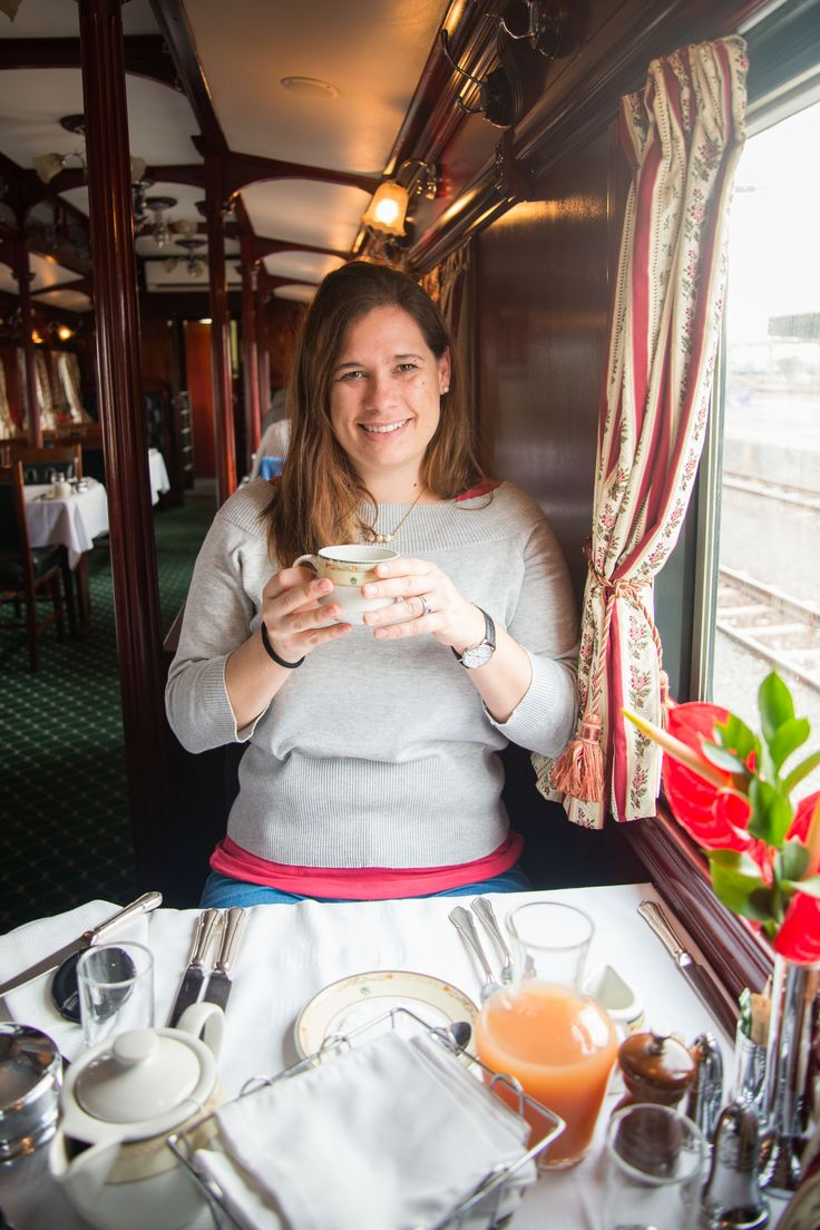 Emma enjoying a relaxing cup of tea on her #journey aboard Rovos Rail. #SouthAfrica #travel #Rail #rail