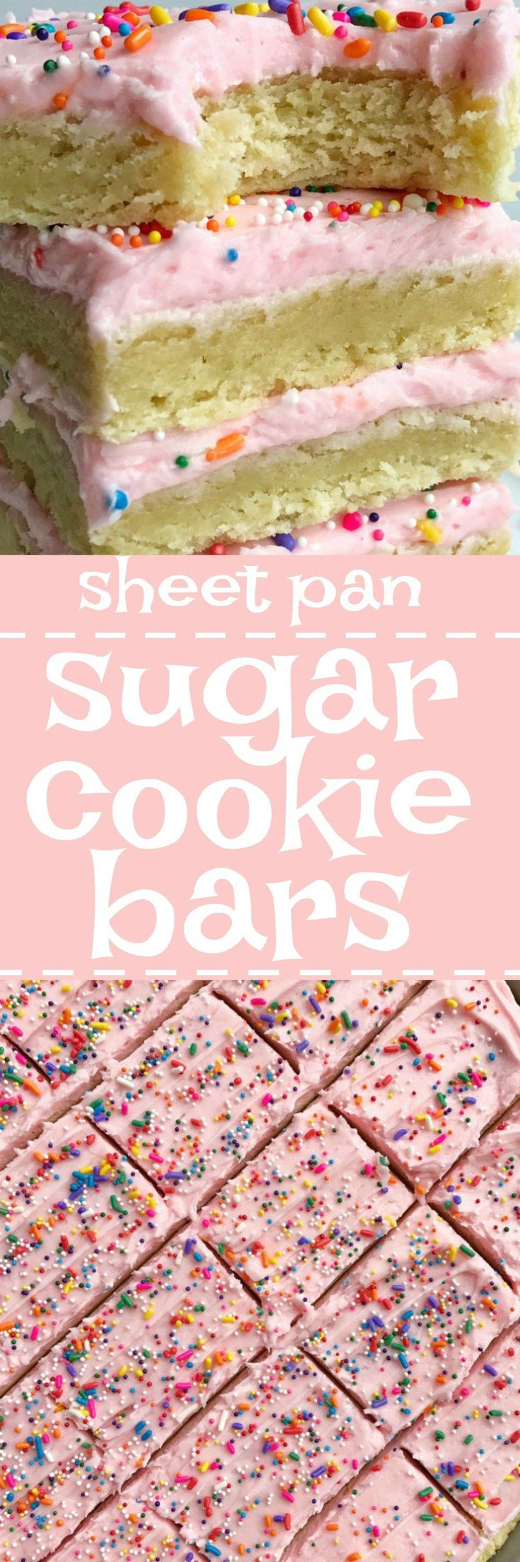 Soft, thick sugar cookie bars topped with a creamy and sweet frosting and baked in a sheet pan. Perfect for a large crowd, potluck, picnic, or a party. Change up the frosting color & sprinkles for different events, parties, and/or birthdays!