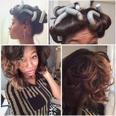 Flexi Rod on dry, straighten hair at night to keep voluminous curls IG: How to use flexi rods on natural and relaxed hairstyles, tutorials for short and long hair, big curls http://www.shorthaircutsforblackwomen.com/flexi-rods-on-natural-hair/
