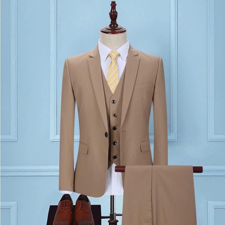 Autumn 2017 khaki groom dress suit Men's cultivate one's morality business attire two piece